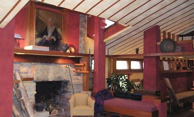 Interior de la Casa Taliesin en Wisconsin