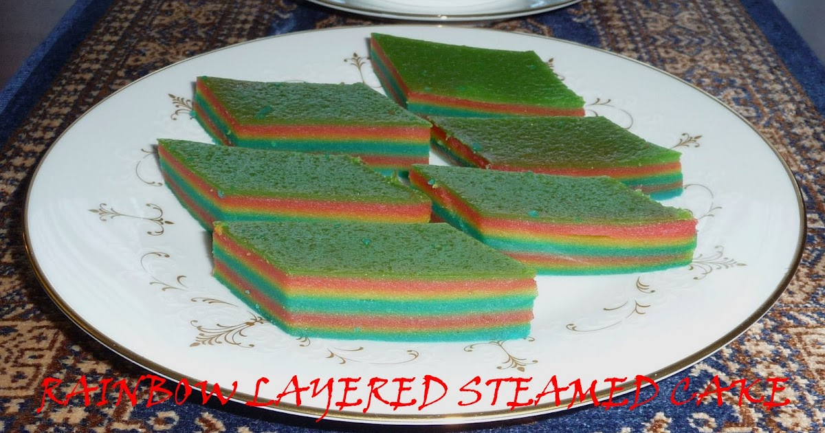 Steamed Rainbow Cake: My Household Capers!: RECIPE: RAINBOW LAYERED STEAMED CAKE