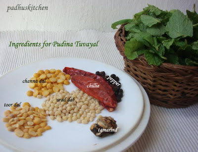 ingredients for mint thuvaiyal