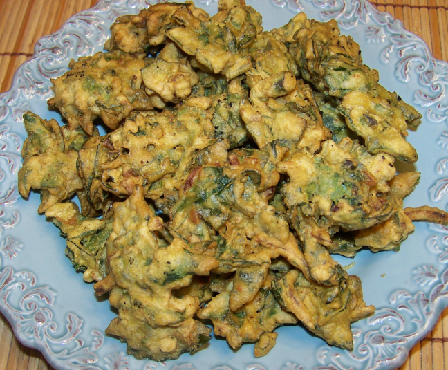 Indian food spinach pakoras