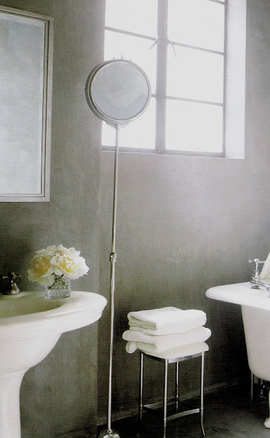 Pristine white bath elements against the soft gray wall, lovely juxtaposition, image via At Home with White, edited by lb for linenandlavender.net