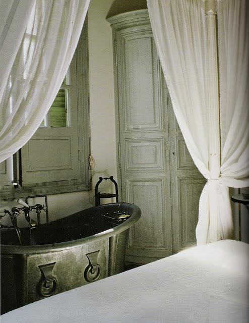 Bath in the bedroom, Axel Vervoordt's Timeless Interiors as seen on linenandlavender.net
