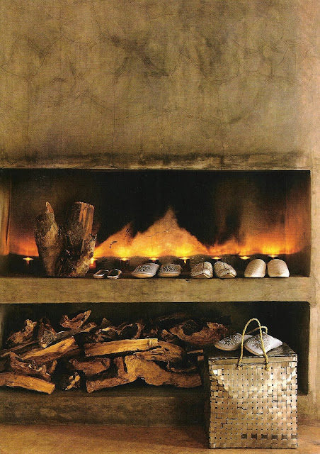 Fireplace and  family of shoes Côté Sud Dec 2001-Jan 2002 as seen on linenandlavender.net