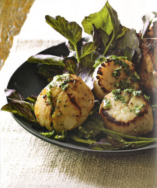 "Recipe:  Roasted Scallops with ""Snail Butter"" and Mâche -image via Olives and Oranges as seen on linenandlavender.net: http://www.linenandlavender.net/2010/09/one-of-my-earliest-memories-of-living.html"
