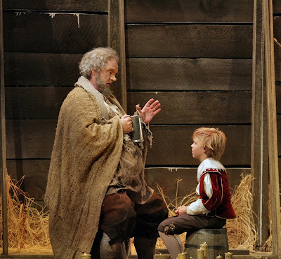 Anthony Michaels-Moore (Falstaff) and Trevor Wilson (Robin, the page-boy) in Act III, scene 1 of Falstaff, costumes by Clare Mitchell, Santa Fe Opera, 2008 (photo © Ken Howard)