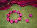 Felted Fuchsia Wool Beads