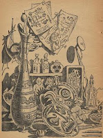 An illustration accompanying the original publication of the story The Miracle-Workers by Jack Vance in Astounding Science Fiction, July 1958