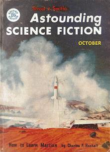Cover image of October 1955 issue of British edition of Astounding Science Fiction magazine. It shows a scene from the movie Conquest of Space, from Paramount Pictures.