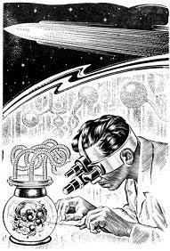 One of the illustration accompanying the publication in Space Science Fiction, US edition, September 1953, of short story The Variable Man by Philip K Dick