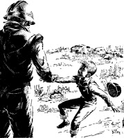 Illustration by Riley accompanying the original publication in Astounding Science Fiction of short story The Stutterer by R R Merliss. Picture shows the human child, very scared on learning the fact that the man he was chatting is actually a wanted android.