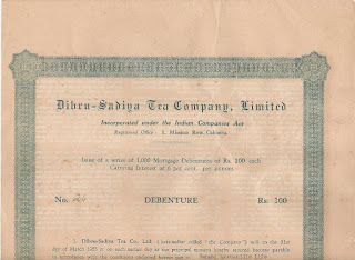 Share of the Dibru-Sadiya Tea Company from India (upper half)