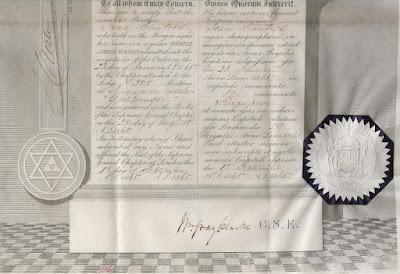detail from Masonic membership certificate showing embossed seal