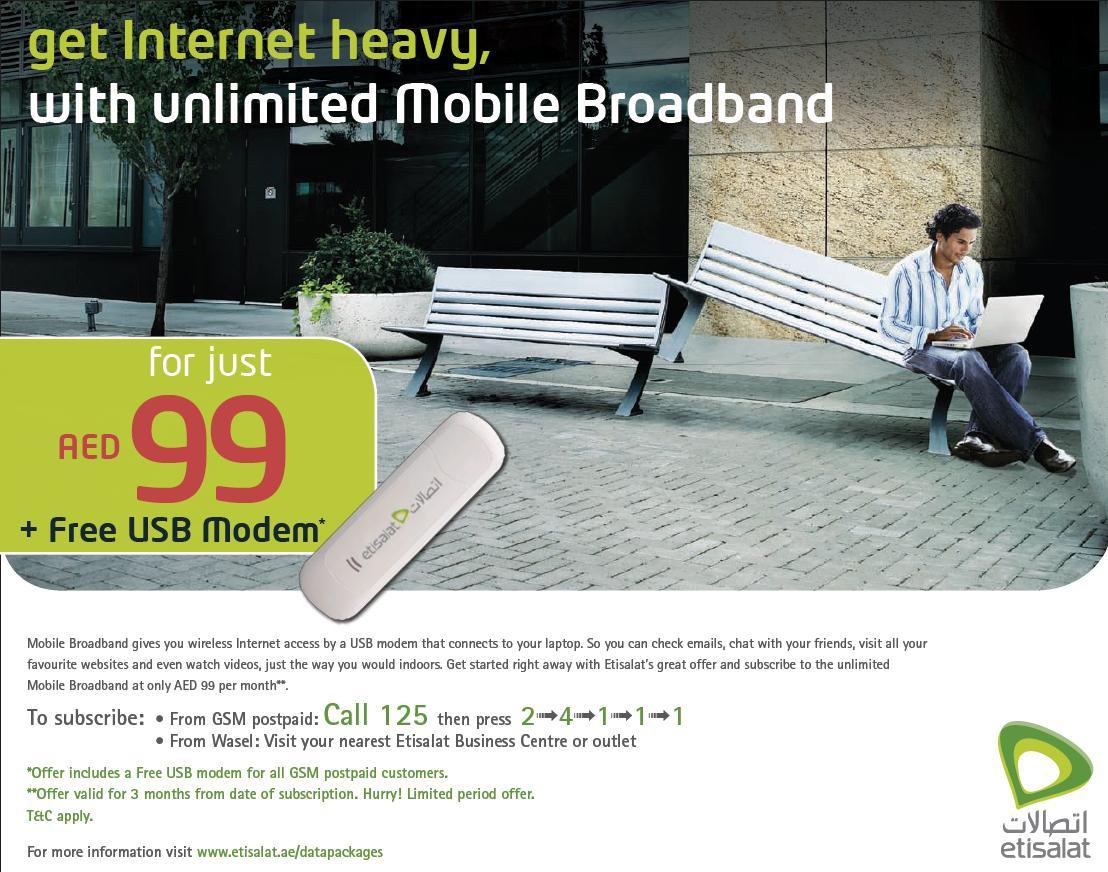 EtisalatUAE: Unlimited mobile broadband offer: AED99 per month