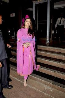 Aishwarya In Pink Salwar Kameez Near The Stairs