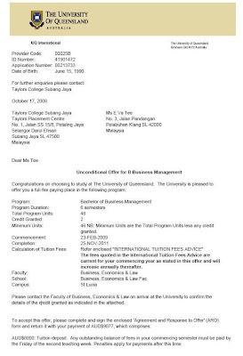 live life The University of Queenslands offer letter