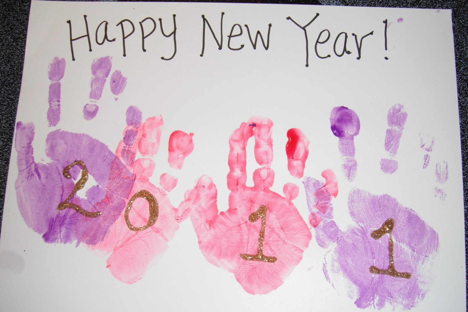 Play With Me New Years Hand Print Craft
