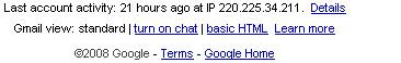 Session details in gmail