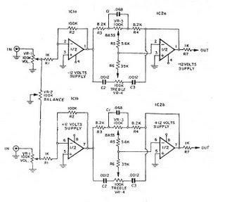 Electronics Circuits: Tone Control(bass-treble) Stereo by IC NE5532