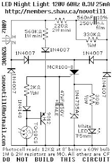Electronics Circuits: LED Night Light for 120VAC mains