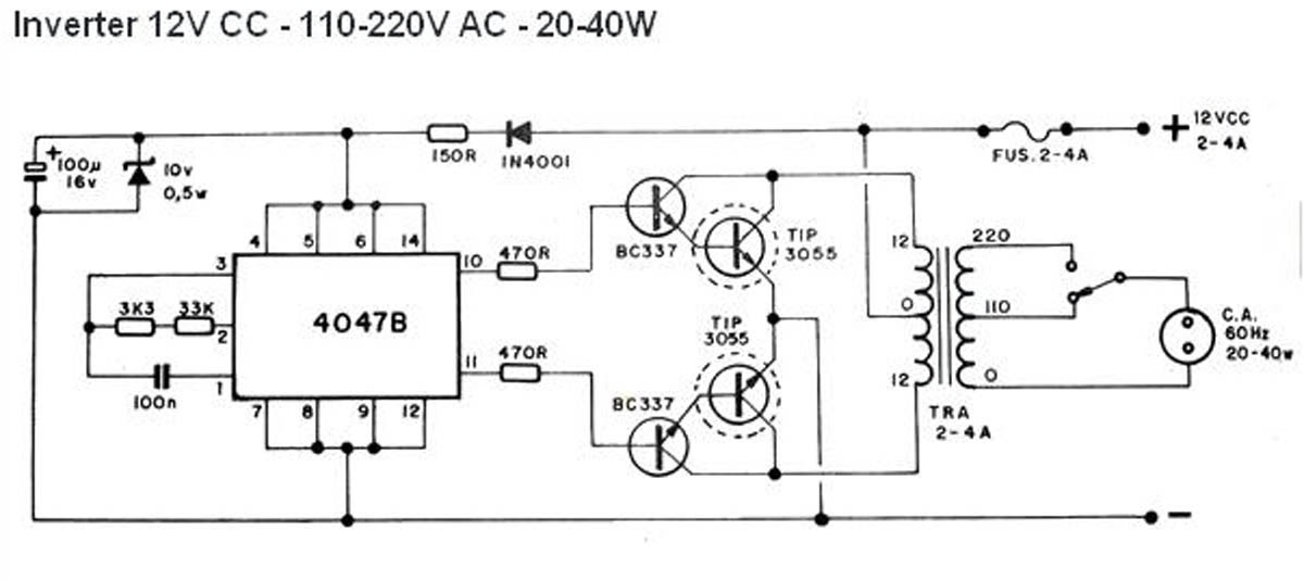Electronics Circuits: Simple 40W Inverter