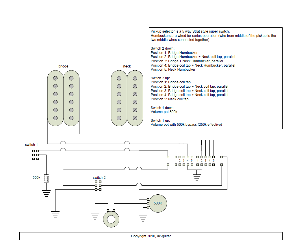 medium resolution of 2 humbuckers 1 vol 1 tone 5 way super switch wiring diagram