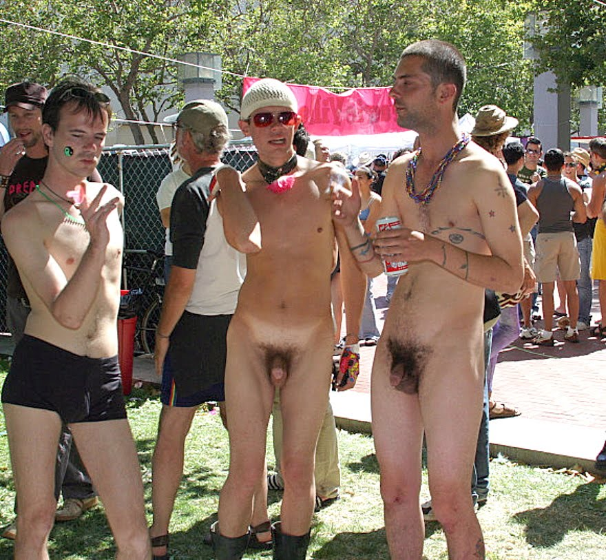 Erect embarrassed naked asian men in public