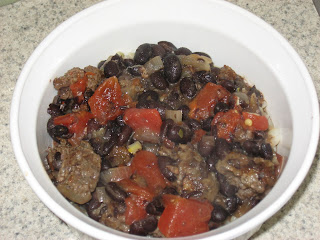 Mexican black bean and venison sausage chili, adapted from Cooking Light