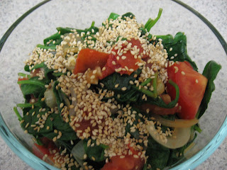 Spicy spinach and tomato saute, my favorite way to eat spinach