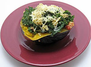 Quinoa, Tomato, Kale, and Garlic-Stuffed Acorn Squash