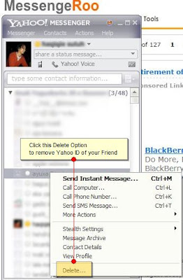 Delete Remove Friends ID on Contact List of Yahoo Messenger