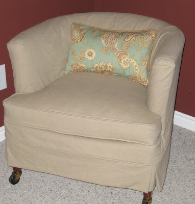 Before and After of Barrel Chair  Slipcovers by Shelley