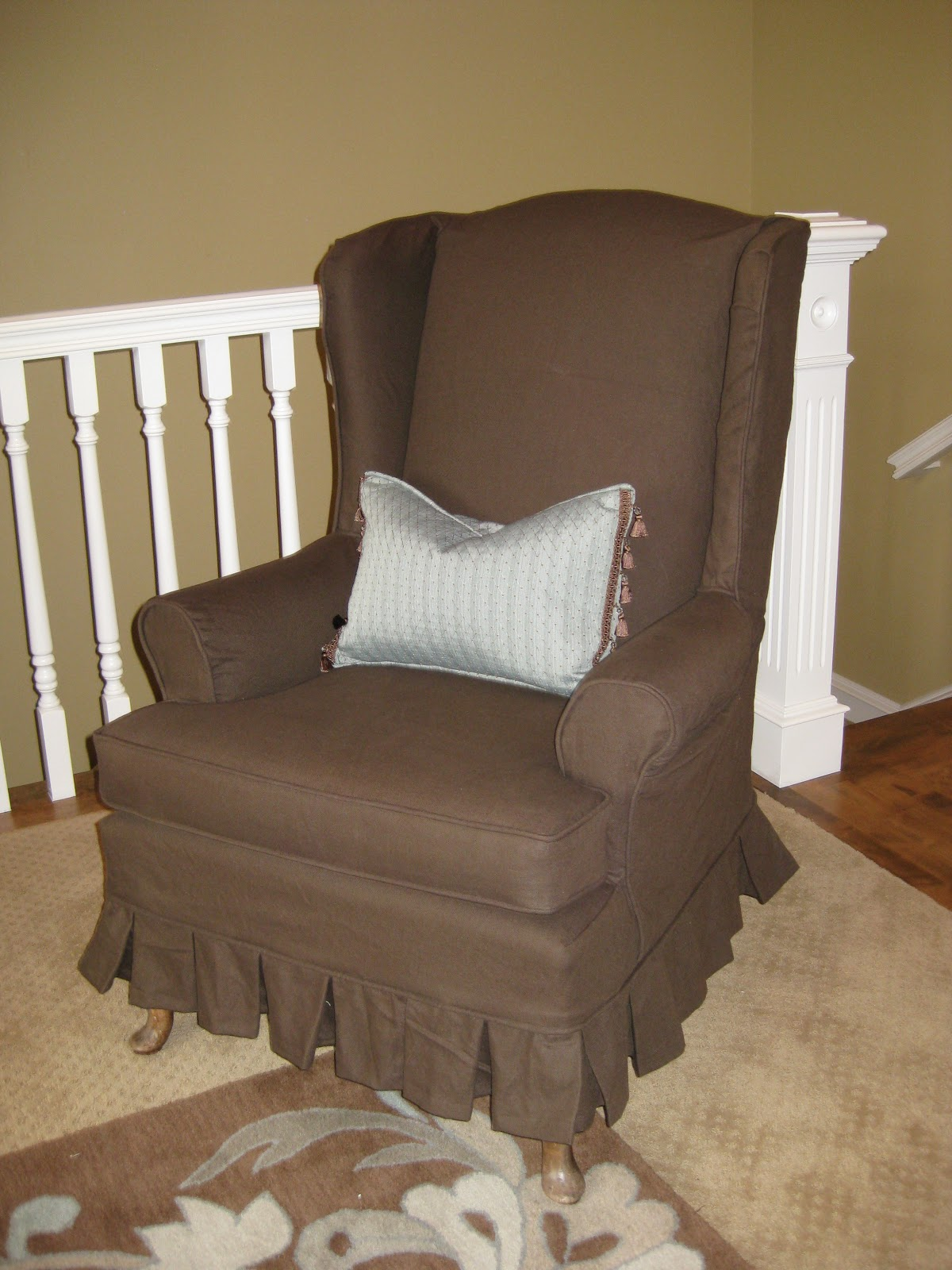 Chair Covers For Wingback Chairs Clinical Care Geri Recliner Custom Slipcovers By Shelley Chocolate Brown