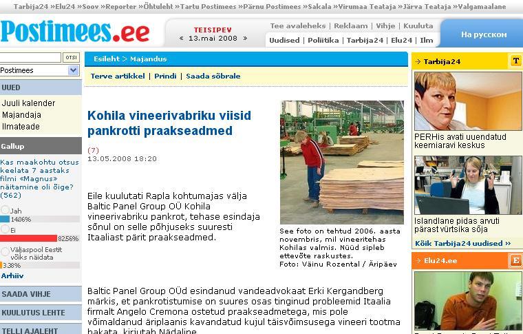 256f84f6f65 Eile kuulutati Rapla kohtumajas välja Baltic Panel Group OÜ Kohila  vineerivabriku pankrot, tehase esindaja sõnul on selle põhjuseks suuresti  Itaaliast pärit ...