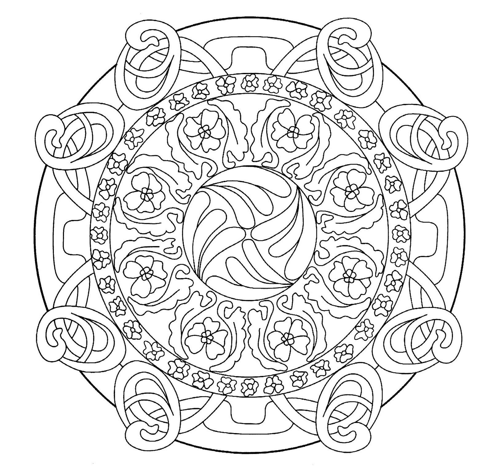 mandala coloring pages pinterest | Mandalas Para Pintar: Mandala floreado