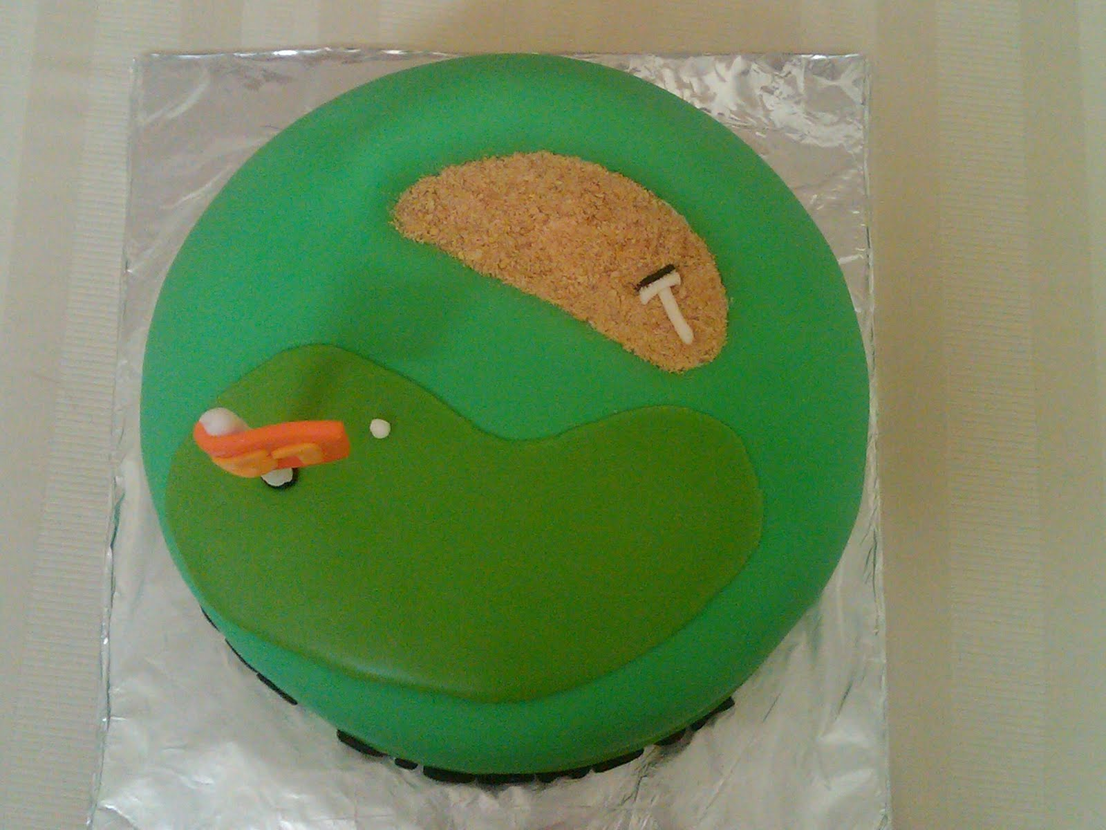 Golf Green Cake Made For A 51st Birthday 8 Inch Chocolate With Buttercream Filling Covered In Fondant Sand Trap Gram Craker