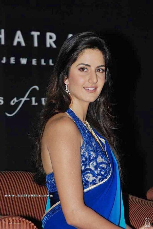 Bollywood Actress Katrina Kaif Looking Sexy In Blue Saree -6683