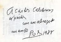 Dedicatoria de Pío Muriedas al responsable de este blog, en un librito que contiene alguno de los poemas que sus amigos poetas le fueron dedicando y otros de su propia cosecha dedicados a María Luisa