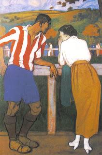 Aurelio Arteta inmortalizó a Rafael Moreno Aranzadi ('Pichichi') en este cuadro, 'Idilio en los Campos de Sport', en el que el mítico futbolista dialoga con la que sería su esposa, Avelina Rodríguez Miguel.