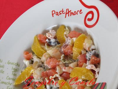 pasta con salmón y salsa de queso