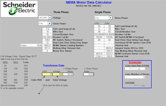 electrical conduit spreadsheet