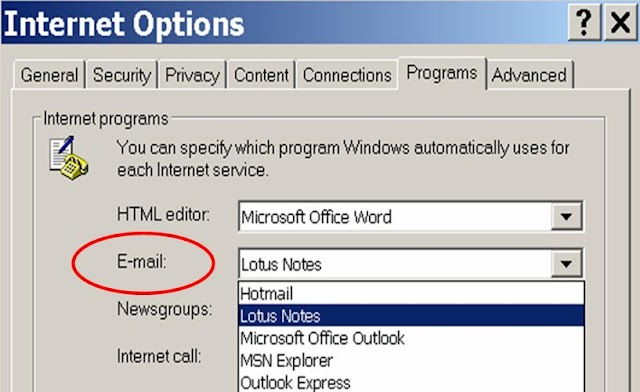 Internet Explorer Tip: change/specify the email program