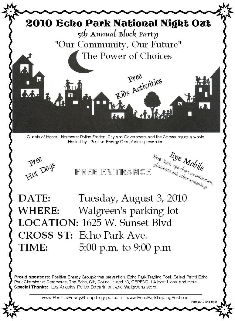 2010 The Echo Park National Night Out Flyer