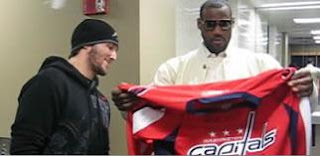 Alex Ovechkin gives LeBron James an autographed jersey