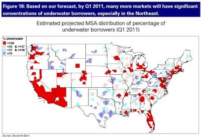 By Q1, 2011 a projected 48% of total mortgage borrowers will have negative equity.