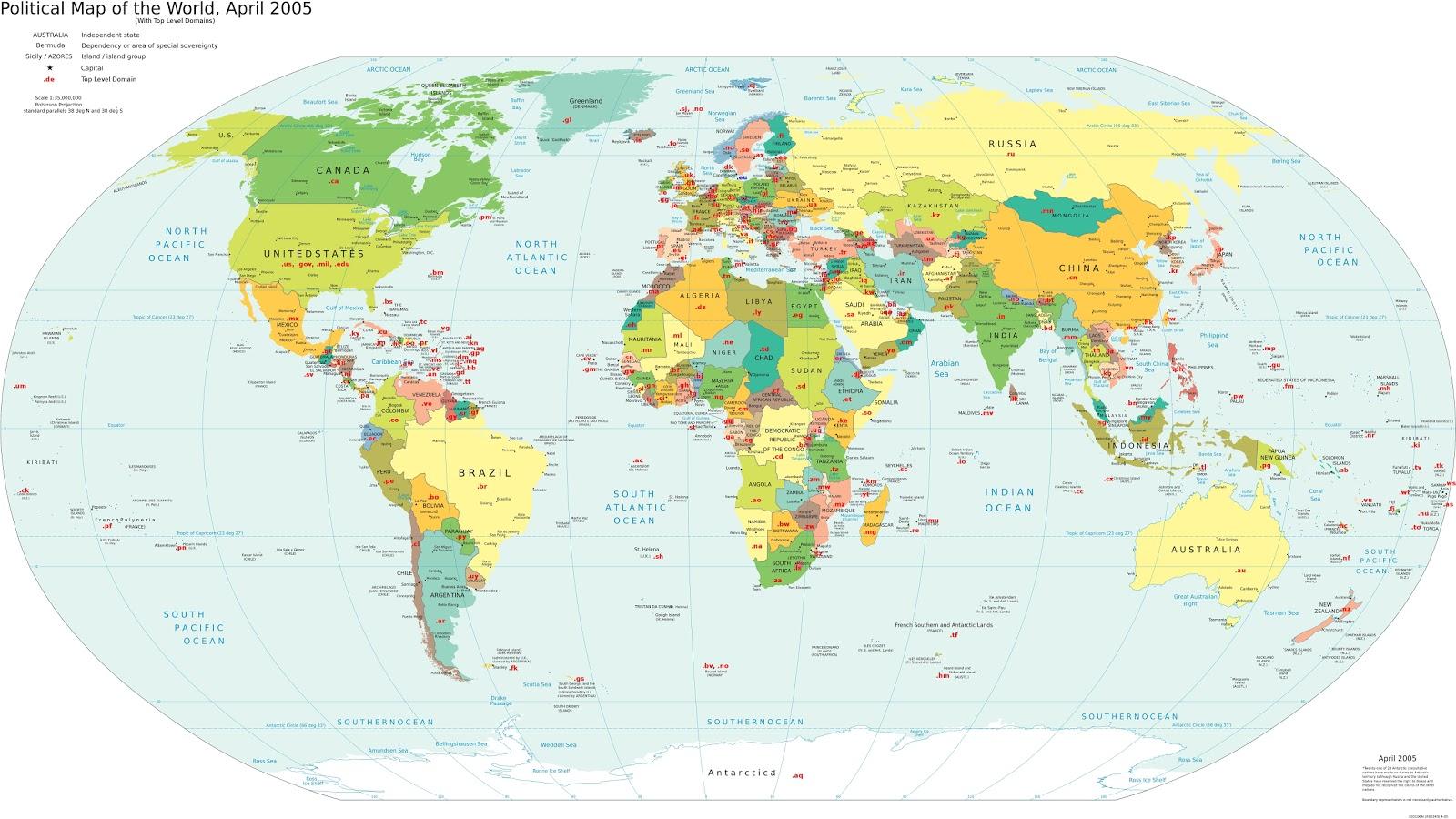 die weltkarte Landkartenblog: Die Weltkarte der Länderkürzel (Top Level Domains  die weltkarte