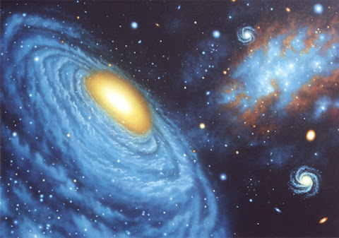 Andrew Stewart Space Art: Compact Group of Galaxies (Acrylic on Canvas)