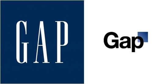 ... y vieron en Internet que GAP había abandonado el tradicional recuadro  azul (abajo a la izquierda) y ahora tenía un nuevo logo (abajo a la  derecha). 710a75e1e99a4