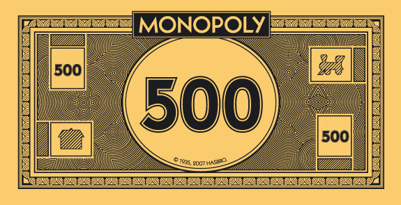 500 dollar bill template for Monopoly money templates