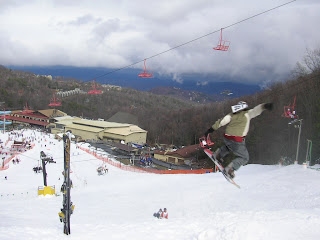 snowboarder completing a jump move