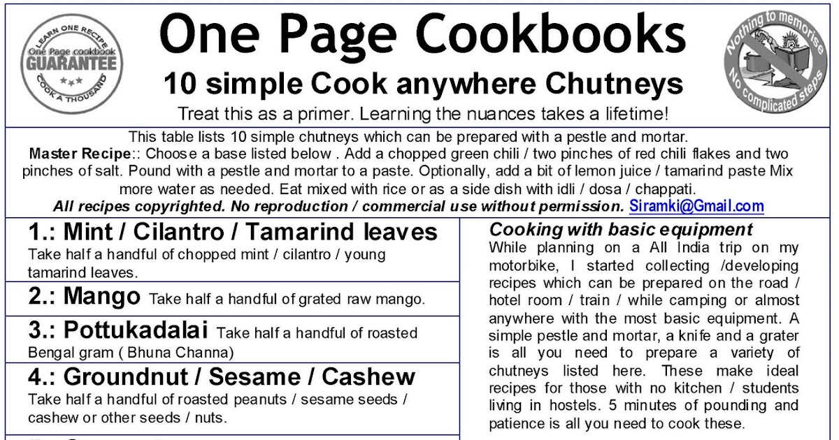 One Page Cookbooks: Simple Pounded Chutneys